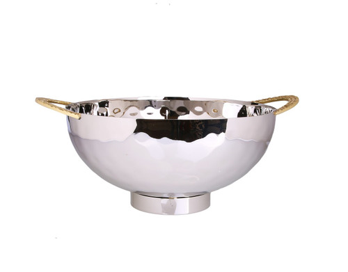 Stainless Steel Salad Bowl With Mosaic Handles