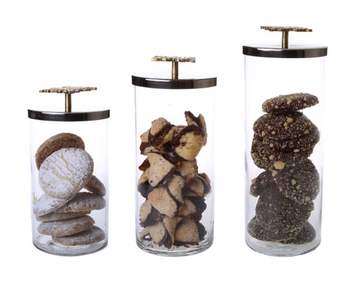 Classic Touch Glass Canister With Mosaic Handle