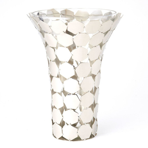 Hex Pattern Flower Vase Stainless Steel with Glass Insert