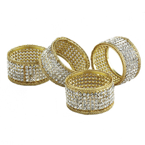 Gold Napkin Rings with Crystals, Set of 4