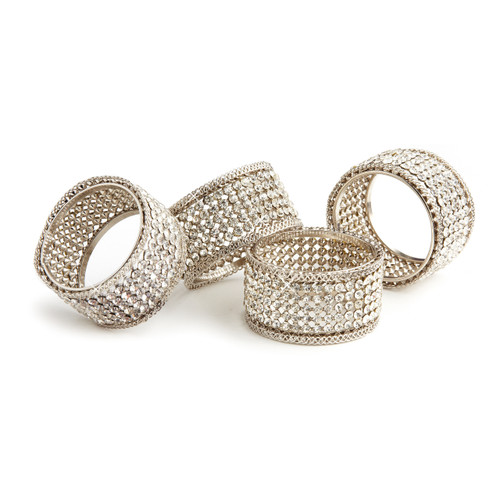 Silver Napkin Rings with Crystals, Set of 4