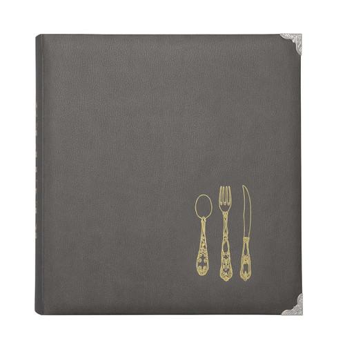 Leatherette Recipe Binder - Gray