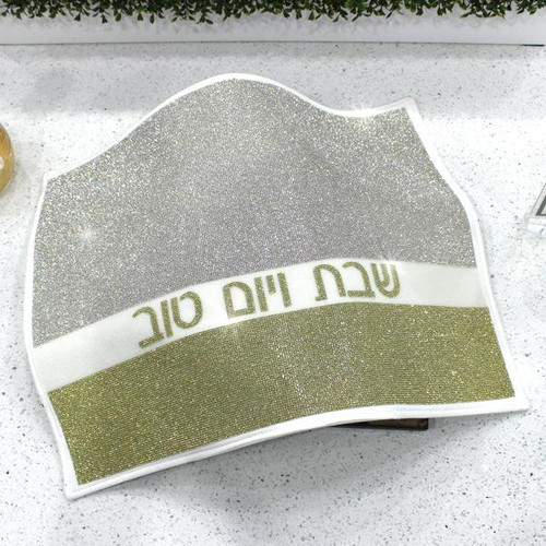 Crystal Studded Leather Challah Cover Silver Gold