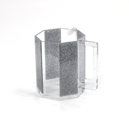Lucite Washing Cup Silver Glitter