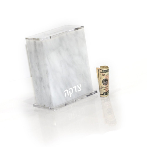 Waterdale Lucite Tzedakah Box Full