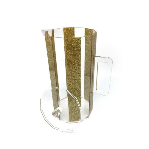 Hexagon Lucite Pitcher Gold and Clear