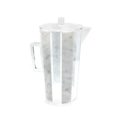 Hexagon Lucite Pitcher Marble and Clear