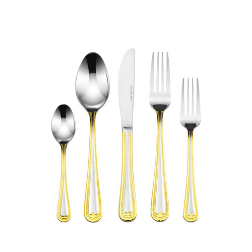 18/10 Stainless Steel & Gold 20 Piece Flatware Set