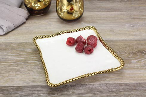 White Gold Bead Salerno Dessert Plate