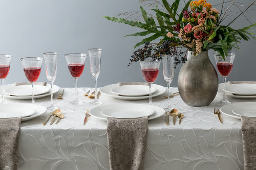 White Leaves Tablecloth