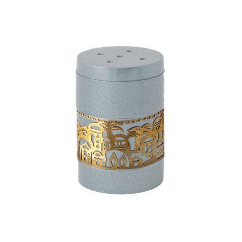 Anodized Aluminum Salt Shaker with Gold Jerusalem Metal Cutout