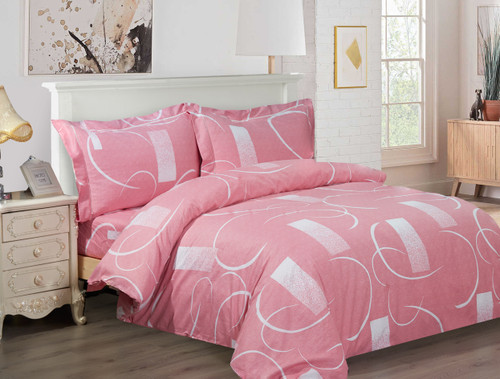 French Abstract Pink Linen Set