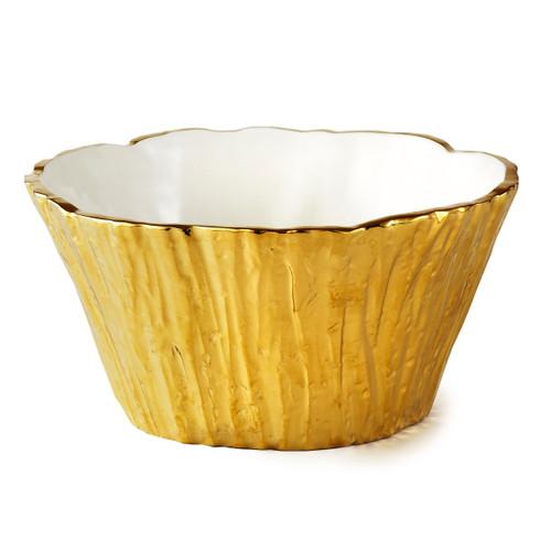 Gold Tree Bark Bowl, 48 oz