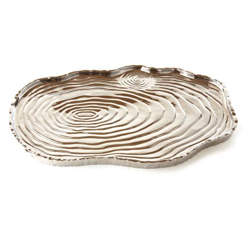 """Silver Tree Bark Tray, 16"""""""