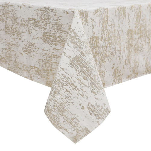 Velvet Tablecloth White w Gold Mosaic Print