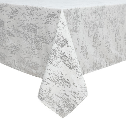 Velvet Tablecloth White w Silver Mosaic Print