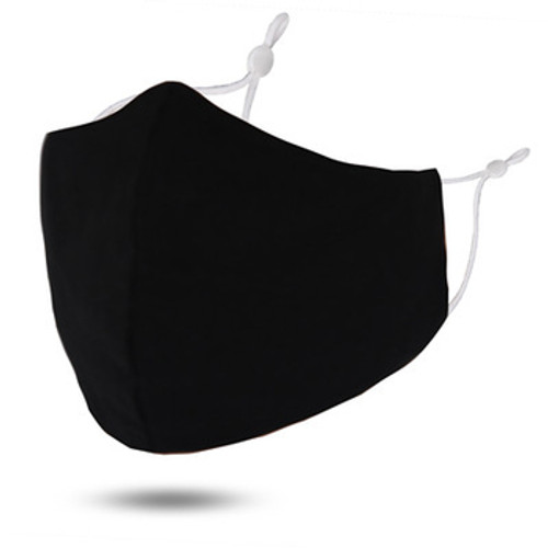 Black Solid Cotton Face Mask Teen to Adult