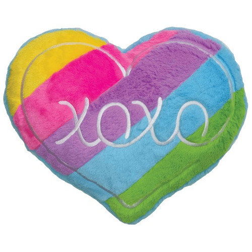 XOXO Rainbow Heart Furry Pillow