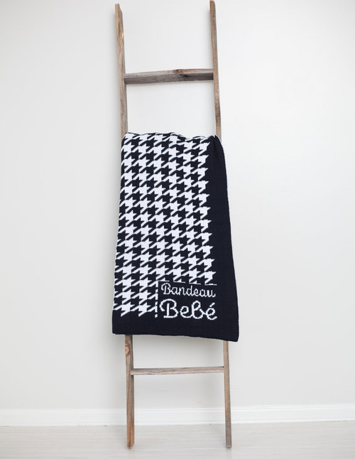 Houndstooth Chunky Knit Black Baby Blanket
