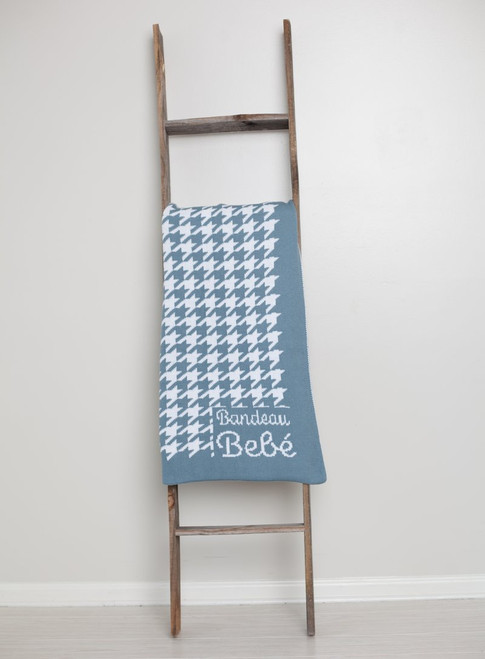 Houndstooth Chunky Knit Blue Baby Blanket