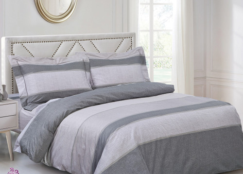 French Beige Grey Stripe Linen Set