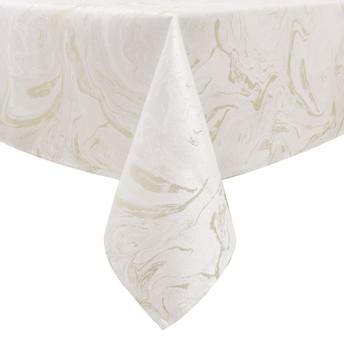 Jacquard Tablecloth White Gold Marble
