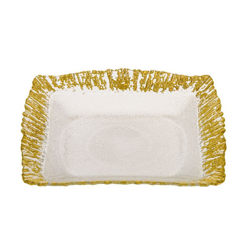 Classic Touch Scalloped Square Plates Set