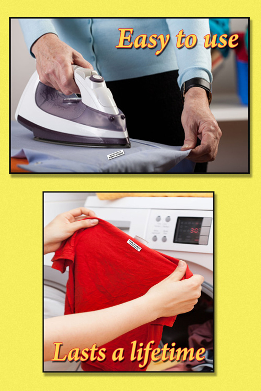 It is a picture of Handy No Iron Clothing Labels