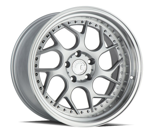 AodHan DS01 18x8.5 5x114.3 +35 73.1 Silver Machined Lip w/Chrome Rivets