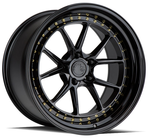 AodHan DS08 18x9.5 5x114.3 +30 73.1 Gloss Black W /Gold Rivets (DPFTM)