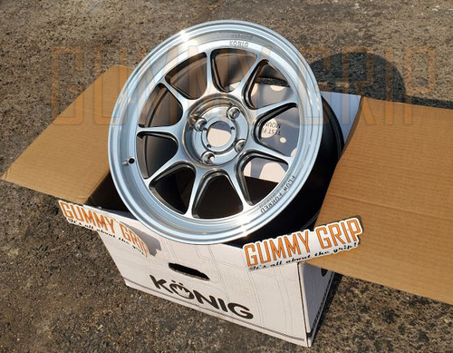 KONIG COUNTERGRAM 15x9 4X100 + Hyper Chrome w/ machined lip