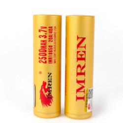 Imren (Gold) IMR 18650 (2500mAh) 40A 3.7v Battery Flat-Top - 2 Pack