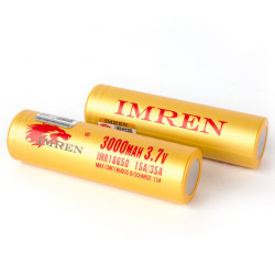 Imren (Gold) IMR 18650 (3000mAh) 35A 3.7v Battery Flat-Top - 2 Pack