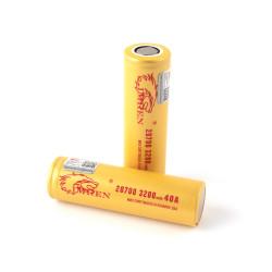 Imren (Gold) IMR 20700 (3200mAh) 40A 3.7v Battery Flat-Top - 2 Pack
