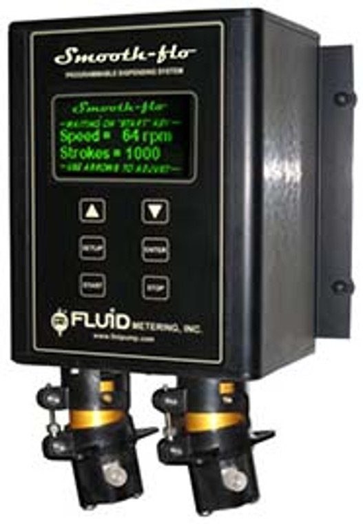 The Smooth-flo PDS100 is a unique valveless dispensing and metering system which utilizes dual FMI pumps, precisely synchronized, to eliminate pulsation typically present in other piston pump designs.
