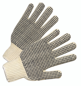 Men's PVC Dot (Dots on Both Sides) String Knit Gloves: 6705