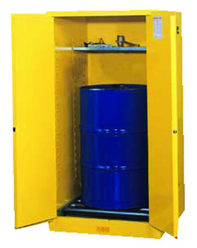 Justrite Yellow Vertical Drum Safety Cabinets: 896 and 899