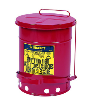 Justrite Red Oily Waste Cans: 09100 Series