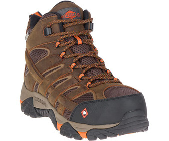 Men's Moab Vertex Mid Waterproof Comp Toe Work Boot by Merrell front right side