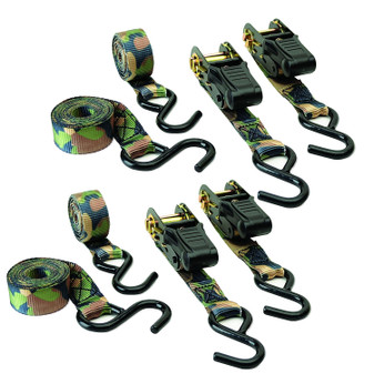 Camouflage Ratchet Tie Down - 4 Pack