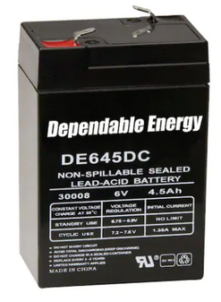 Rechargeable Battery 30008 6 Volt Lead Acid 4.5 mAH