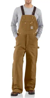 Carhartt Quilt Lined Zip To Thigh Bib