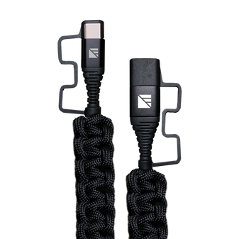 2' USB-C Paracord Charger - Black