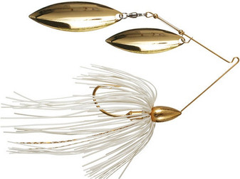 1/2oz Gold Spinnerbait Double Willow - White Gold