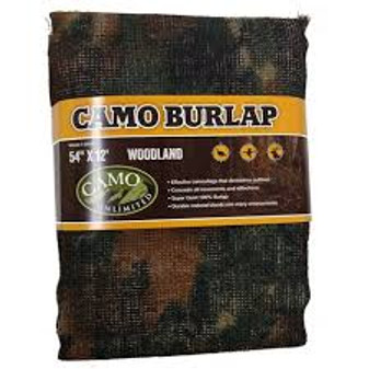 "Camo Unlimited Woodland Burlap 54""x12'"
