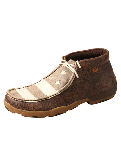 Twisted X Brown and Ivory Men's Driving Moccasins