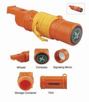 5 in 1 Survival Whistle, Mirror, Flint, Storage, Compass