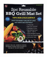 2 Piece Reusable BBQ Grill Mat Set