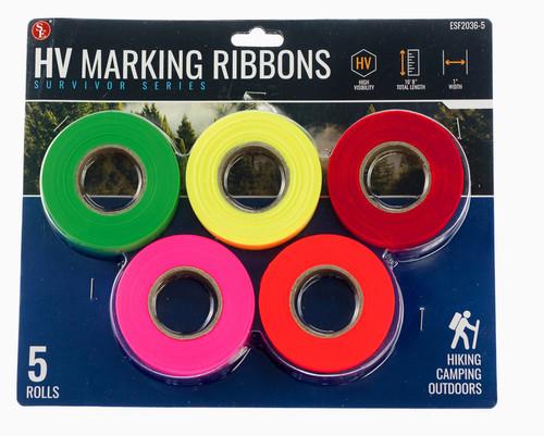5 Pack High Visibility Hunting Marking Ribbon Rolls