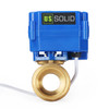 "U.S. Solid 1"" Brass Motorized Electric Ball Valve with Standard Port, 9-24V AC/DC, 2 Wire Auto Return"